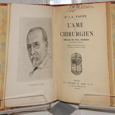 J L Faure L'âme d'un chirurgien Crès 1921 relié