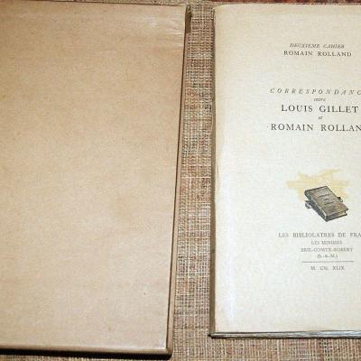 Deuxième cahier Romain Rolland Correspondance Louis Gillet 1949 Bibliolatres N°